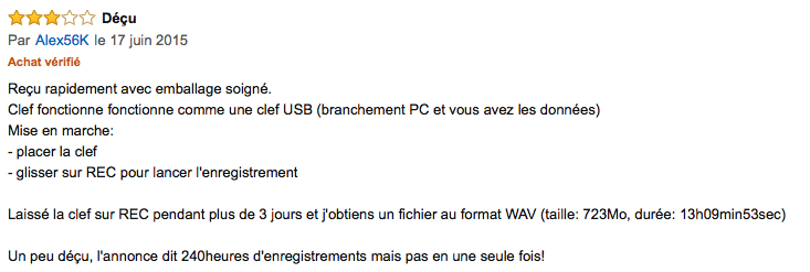 Avis clients Amazon du TESZ00005