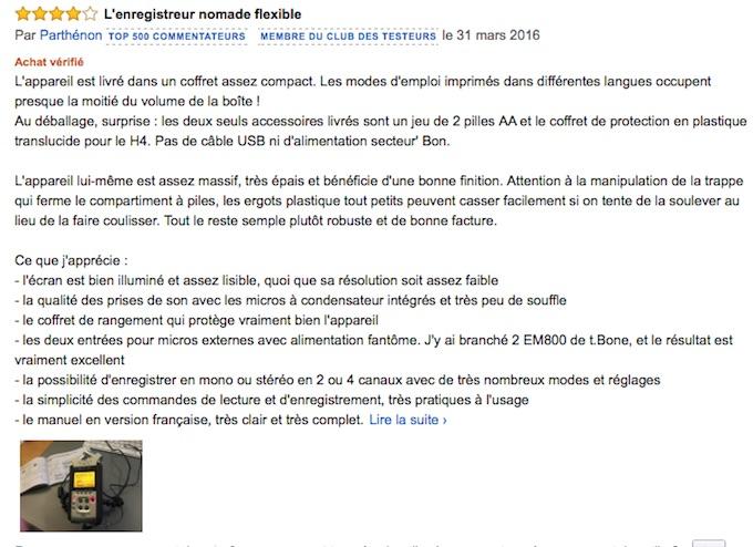 Meilleur avis clients sur Amazon pour le Zoom H4nSP